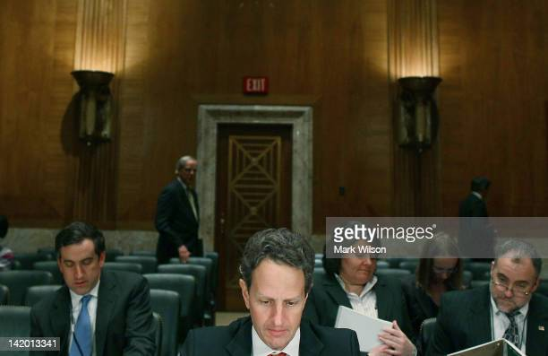 Treasury Secretary Timothy Geithner testifies during a Senate Appropriations Committee hearing on Capitol Hill on March 28 2012 in Washington DC The...