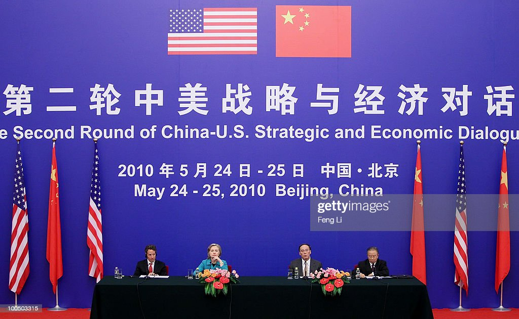 U.S. Treasury Secretary Timothy Geithner, U.S. Secretary of State Hillary Clinton, China's Vice Premier Wang Qishan and China's State Councilor Dai Binguo attend a press conference during the China-U.S. Strategic and Economic Dialogue (S&ED) at the Great Hall of People on May 25, 2010 in Beijing, China. Hillary Clinton called upon Beijing to back international pressure against North Korea following the sinking of a South Korean warship, and to seek greater stability in the region.