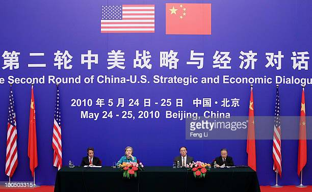 US Treasury Secretary Timothy Geithner US Secretary of State Hillary Clinton China's Vice Premier Wang Qishan and China's State Councilor Dai Binguo...