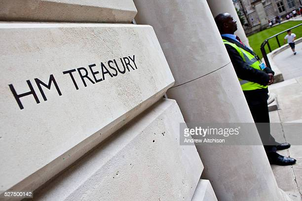 HM Treasury sign a government building in Westminster London United Kingdom