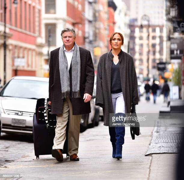 Treat Williams and Jennifer Lopez seen on location for 'Second Act' in SoHo on December 5 2017 in New York City