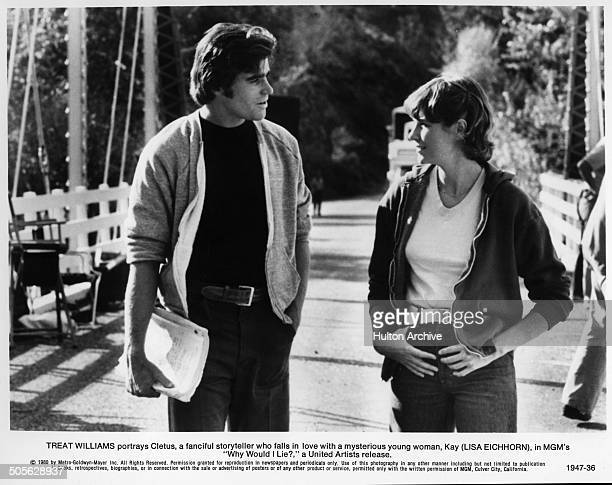Treat Williams and Lisa Eichhorn talk in a scene from the MGM movie Why Would I Lie circa 1980