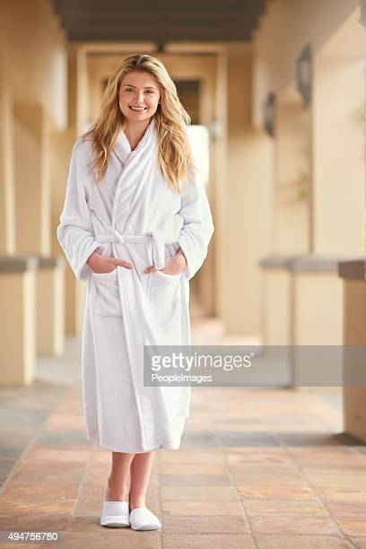 treating herself to a well-deserved spa day - bathrobe stock pictures, royalty-free photos & images