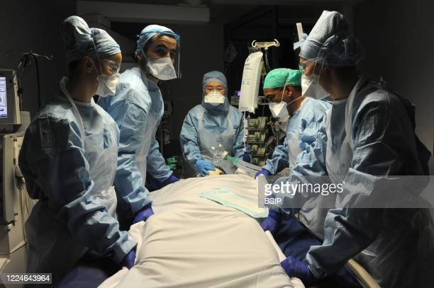 Treatments carried out by the nursing teams of the medical resuscitation department of an intubated pateint Patients with coronavirus hospitalized in...