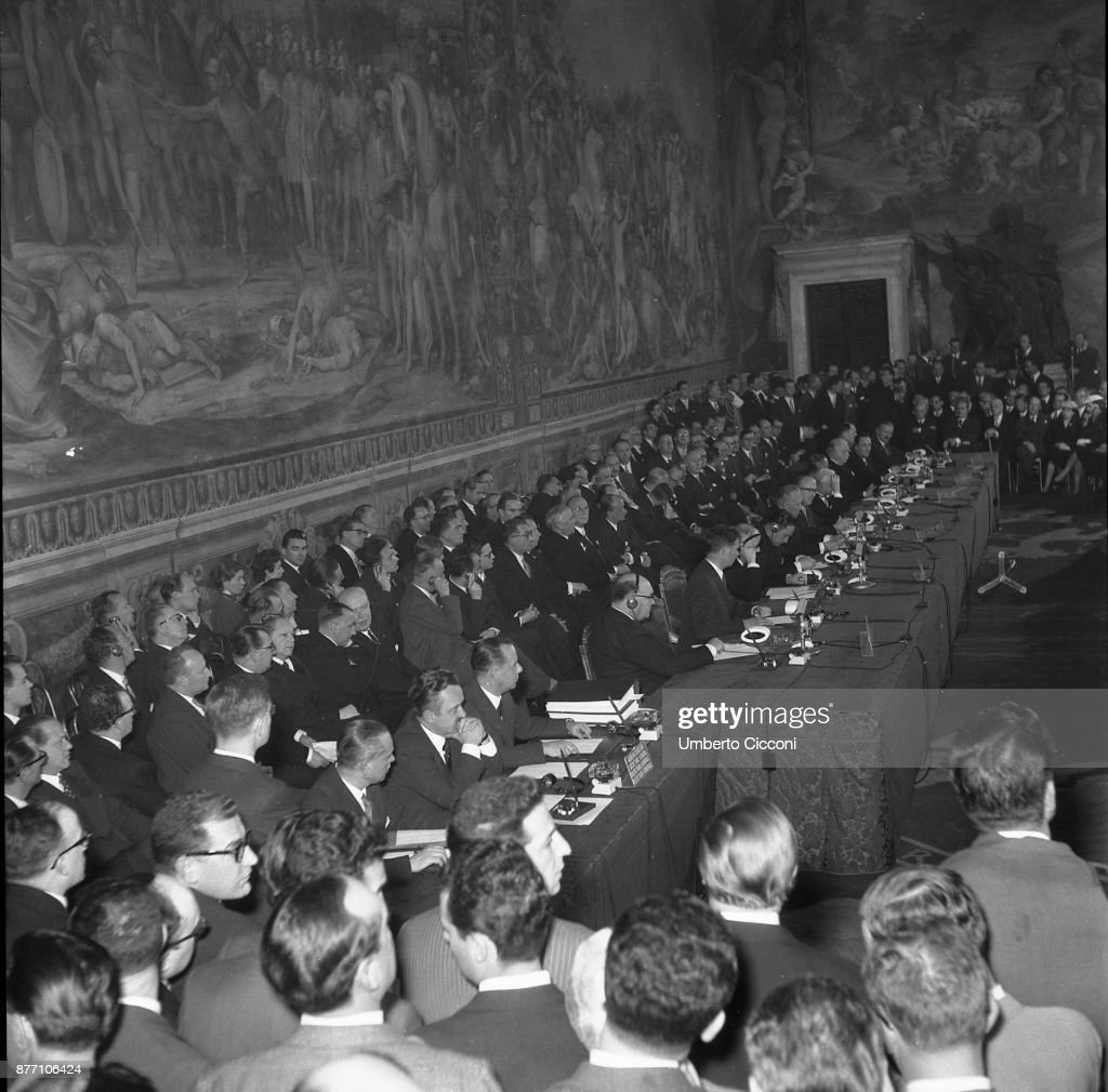 Treaty of Rome signed on 25TH March 1957 at the Capitoline Hill in Rome, Italy : Nachrichtenfoto
