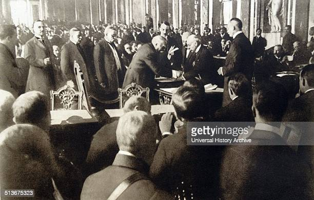 Treaty of Versailles is signed by Prime minister Clemenceau signs for France at the peace conference June 1919