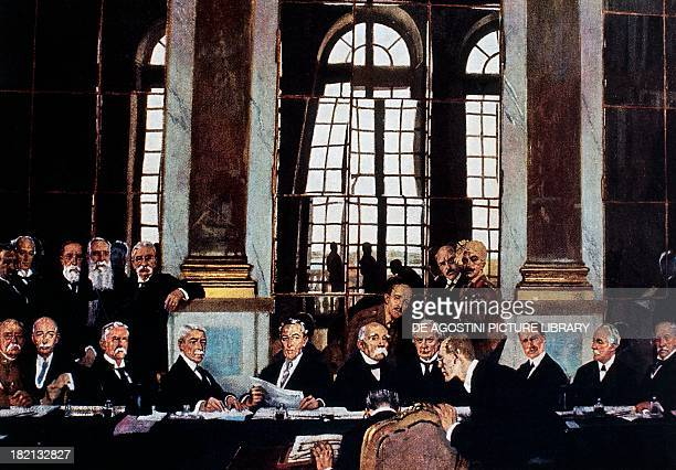 Treaty of Versailles, June 28 signing of the peace treaty with Germany in the Hall of Mirrors of the Palace of Versailles, at the centre Thomas...