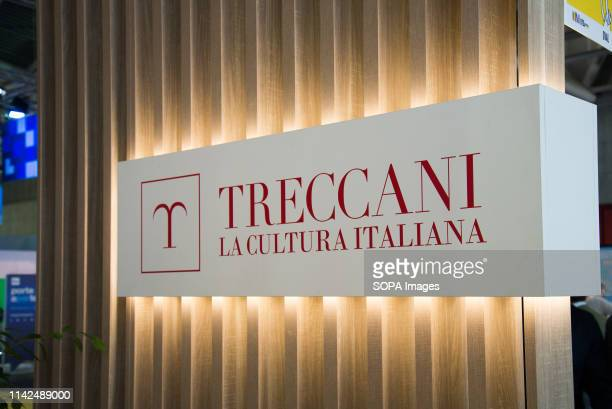 Treccani sign seen during the 32nd edition of the Fair. The International Book Fair is the most important Italian event in the publishing field. It...