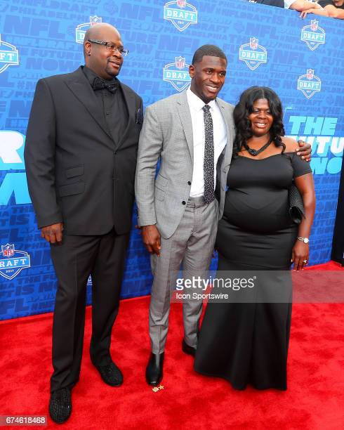 Tre'Davious White from LSU and his family on the Red Carpet outside of the NFL Draft Theater on April 27 2017 in Philadelphia PA