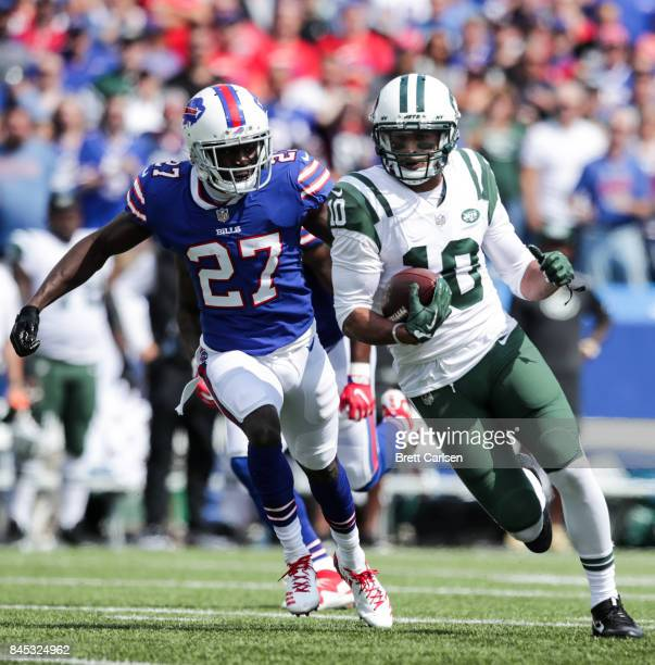 Tre'Davious White of the Buffalo Bills attempts to tackle Jermaine Kearse of the New York Jets during the first hald on September 10 2017 at New Era...