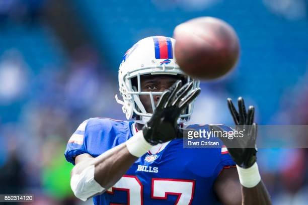 Tre'Davious White of the Buffalo Bills catches a pass during warmups before the game against the New York Jets on September 10 2017 at New Era Field...