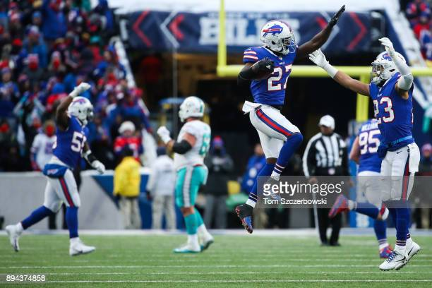 Tre'Davious White of the Buffalo Bills celebrates after intercepting the ball during the fourth quarter to win the game against the Miami Dolphins on...