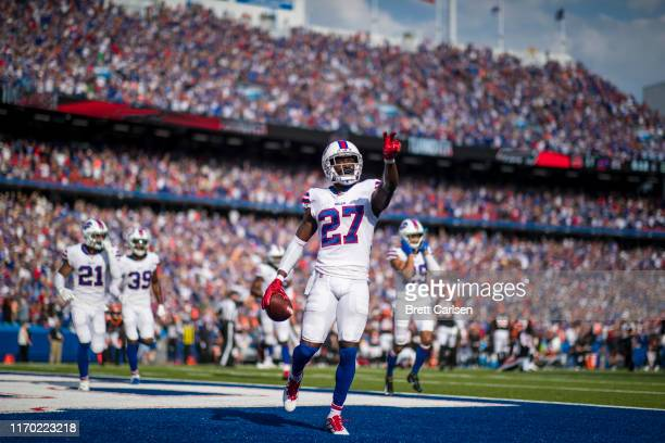 Tre'Davious White of the Buffalo Bills celebrates after making the game clinching interception in the final seconds of the fourth quarter against the...