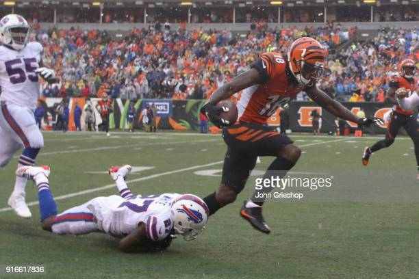 Tre'Davious White of the Buffalo Bills makes the tackle on AJ Green of the Cincinnati Bengals during their game at Paul Brown Stadium on October 8...