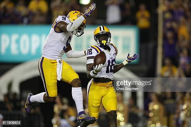 Tre'Davious White of the LSU Tigers reacts after an interception against the Missouri Tigers at Tiger Stadium on October 1, 2016 in Baton Rouge,...