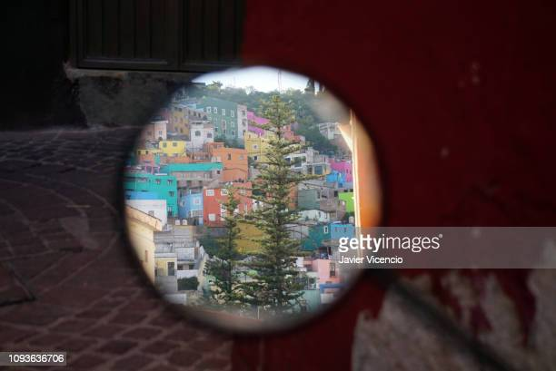 Tree and Houses Reflection on a Motorcycle Mirror in Guanajuato, Mexico