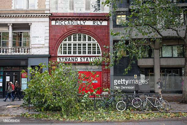 Tree branch obstructing the footpath near Kings College on October 28, 2013 in London, England. Approximately 220,000 homes are without power and two...
