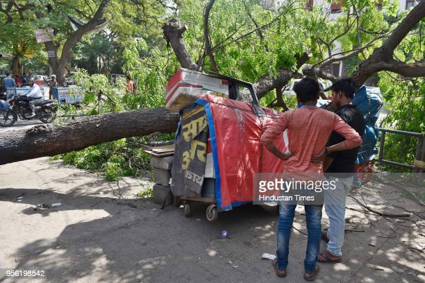 A tree collapsed after the storm that hit the city last night at Rajendra Place on May 8 2018 in New Delhi India Dust storms rain and thunder lashed...
