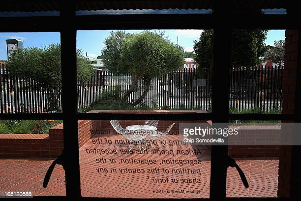 A tree considered 'sacred' by the Mandela family stands in the corner of the courtyard of the Mandela House and Museum on historic Vilakazi Street in...