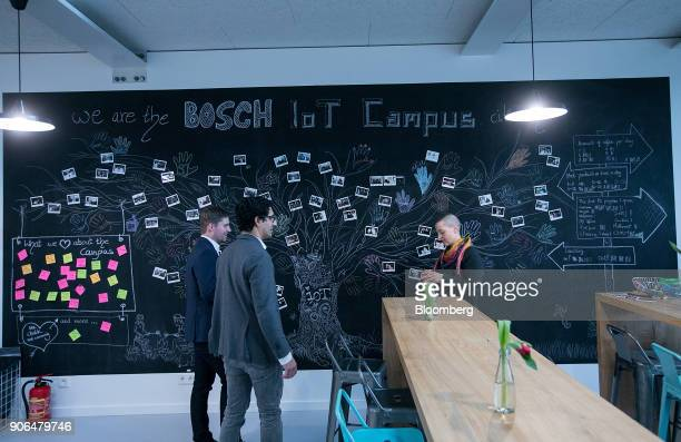 A tree diagram adorns a chalk board in a communal rest area as Robert Bosch GmbH opens an Internet of Things campus in Berlin Germany on Thursday Jan...