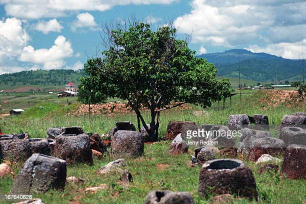 A tree grows amid a scattering of approximately 300 stone vessels which give the Plain of Jars its name The jars sit on a hill overlooking Phonsavanh...