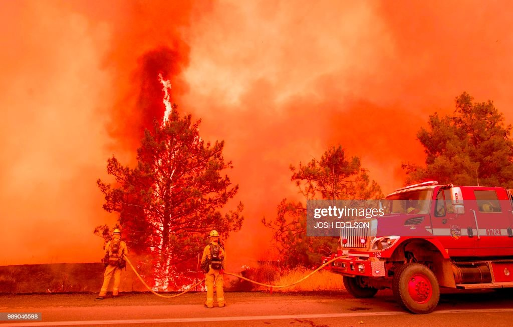 A tree ignites as firefighters attempt to stop flames from the Pawnee fire from jumping across highway 20 near Clearlake Oaks, California on July 1, 2018. - More than 30,000 acres have burned in multiple fires throughout the region.