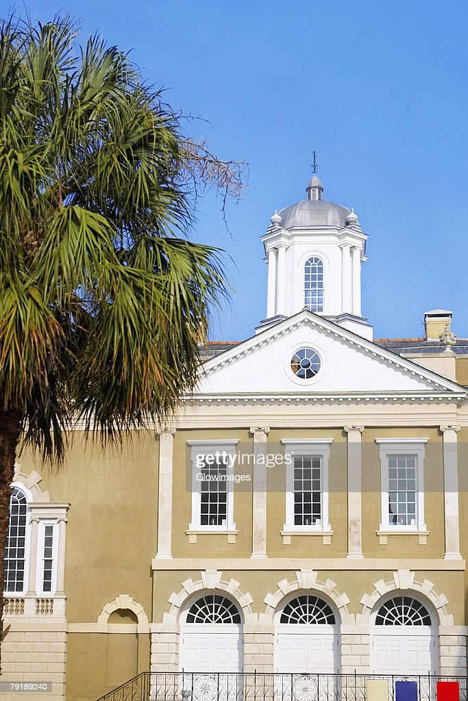 Tree in front of a building, Old Exchange Building, Charleston, South Carolina, USA : Foto de stock