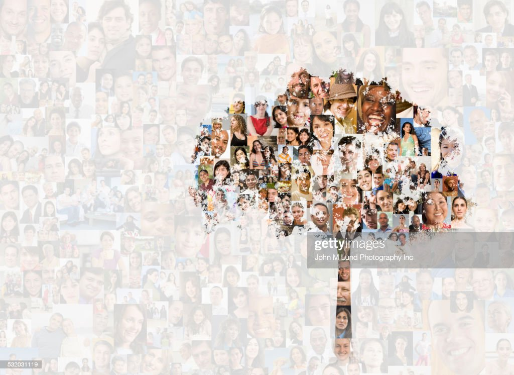 Tree over collage of faces : Stock Photo