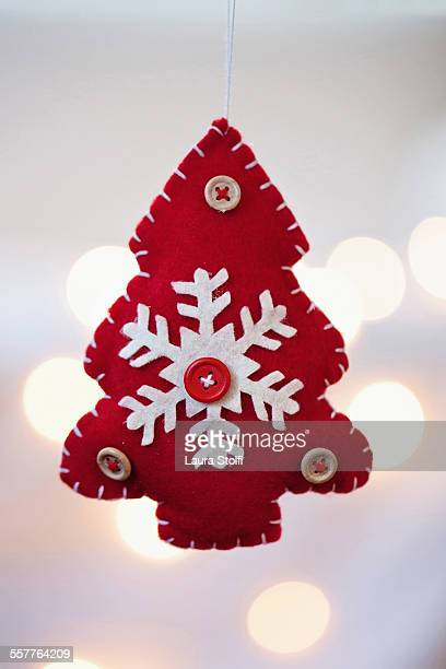 Tree shaped christmas ornament and lights