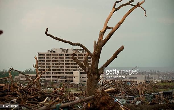 Tree stripped of bark and leaves frames St. John's Regional Medical Center on May 23, 2011 in Joplin, Missouri. A powerful tornado ripped through the...