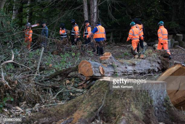 Tree surgeons working on behalf of HS2 Ltd and some of around two dozen security guards leave after felling trees in Denham Country Park for works...