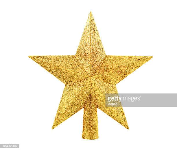 tree topper with clipping path - christmas star stock photos and pictures