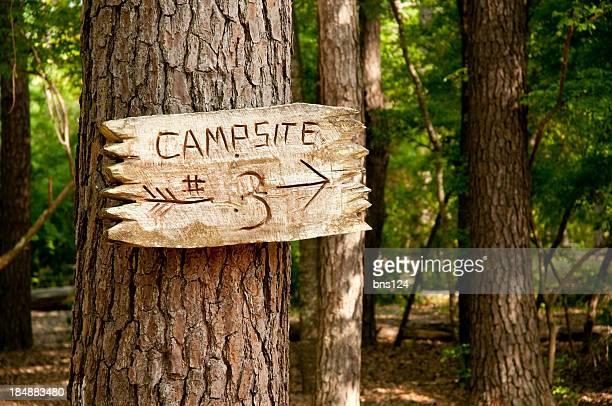 Stamm mit Holz Schild und Pfeil Campingplätzen 3