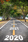 Tree tunnel with 2020 to 2026 on asphalt road surface