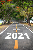 Tree tunnel with 2021 to 2026 on asphalt road surface