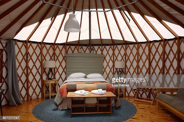 Treebones Resort offers ocean view yurts on Highway 1 in Big Sur California known as glamping or luxury camping