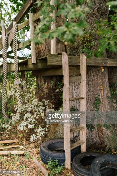 treehouse surrounded by nature - kamperen stock pictures, royalty-free photos & images