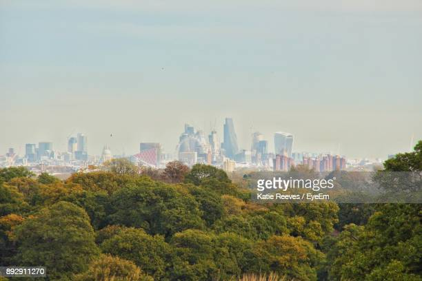 trees and cityscape against sky - kingston upon thames stock pictures, royalty-free photos & images