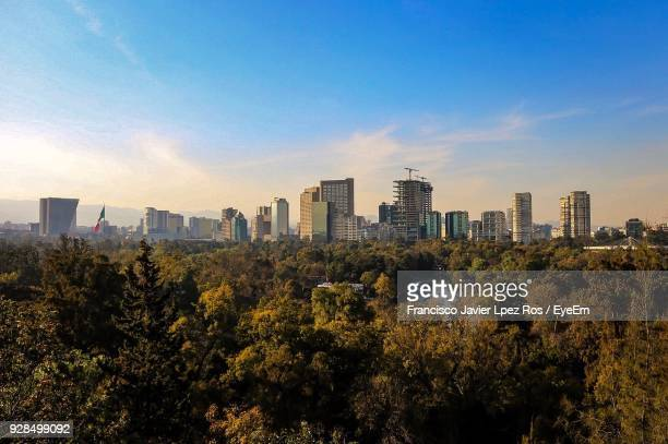 trees and cityscape against sky - mexico city skyline stock pictures, royalty-free photos & images