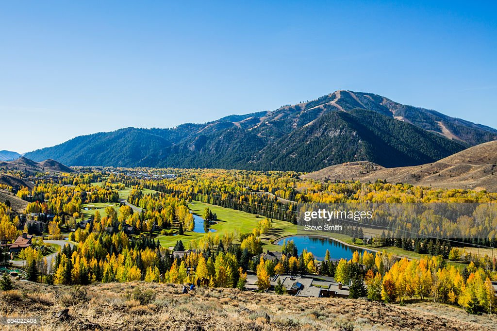 Trees and ponds in mountain landscape : Stock Photo