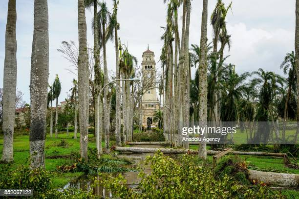 Trees block the main entrance leading to the historic clock tower at the University of Puerto Rico Rio Piedras campus after Hurricane Maria at Ponce...