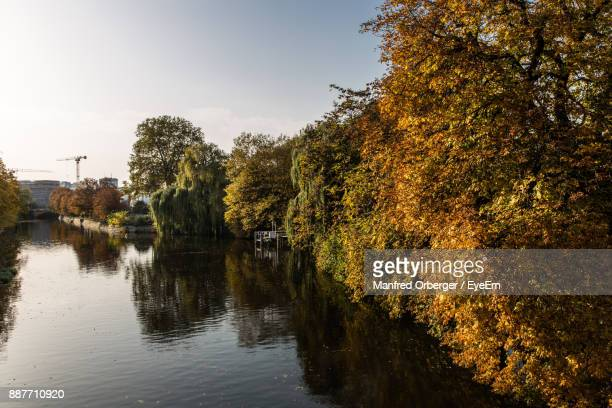 Trees By River Against Sky During Autumn