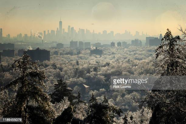 Trees covered in frost stretch out in front of the New York City skyline as a winter storm brings havoc to New Jersey as ice caused power outages and...