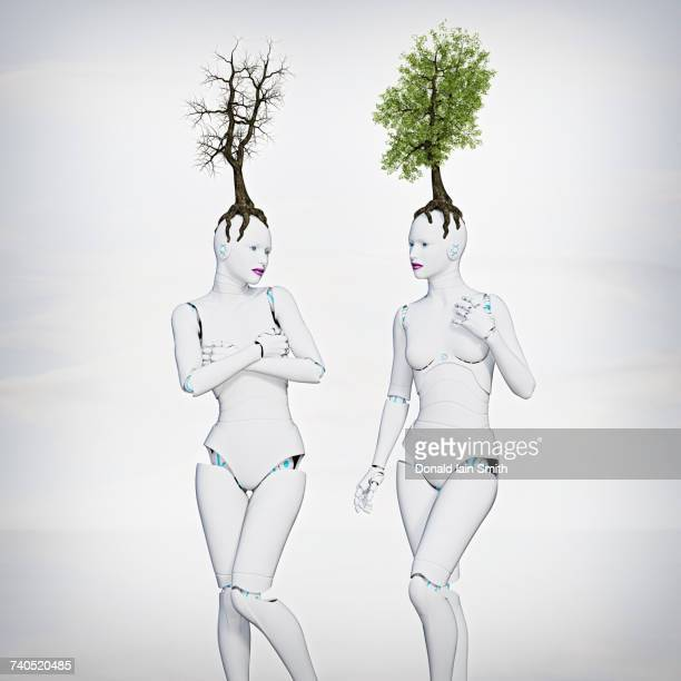 Trees growing on heads of robot women