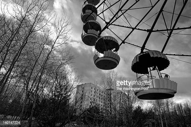 Trees have begun to take over the remains of a playground with a ferris wheel a reminder of the once bustling city where workers who serviced the...