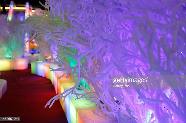 """Trees ice sculpture is displayed at """"Fantasy Ice World"""" on January 23, 2014 in Taipei, Taiwan. Ice sculptors from the famous Harbin Ice Festival..."""