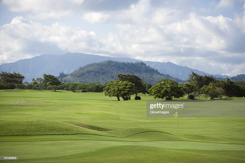 Trees in a golf course with a mountain range in background, Kauai, Hawaii Islands, USA : Foto de stock