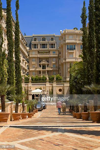 trees in front of a building, monte carlo, monaco - monte carlo stock pictures, royalty-free photos & images