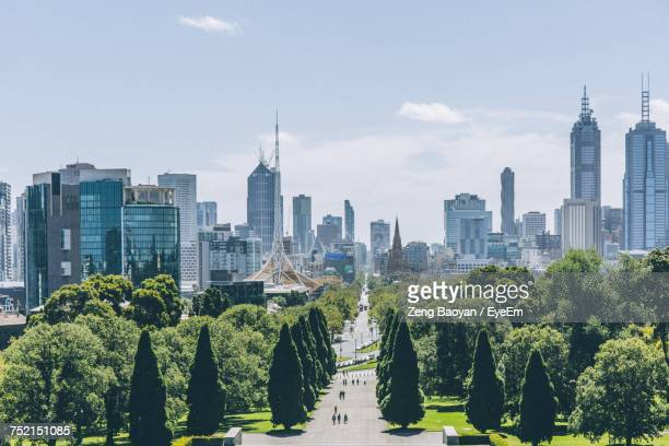 trees in park with city in background - melbourne austrália - fotografias e filmes do acervo
