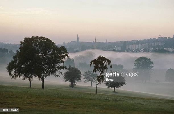 Trees in the mist as seen from a view from Hampstead Heath, looking toward Highgate, London circa 1974.